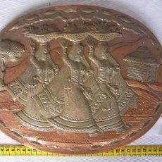 Antigüedades: ANTIGUA PLANCHA METAL COBRE O SIMILAR GRABADA ARTESANALMENTE ESCENAS INDIAS Y ORIENTALES . Lote 45721294