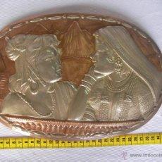 Antigüedades: ANTIGUA PLANCHA METAL COBRE O SIMILAR GRABADA ARTESANALMENTE ESCENAS INDIAS Y ORIENTALES . Lote 45721398