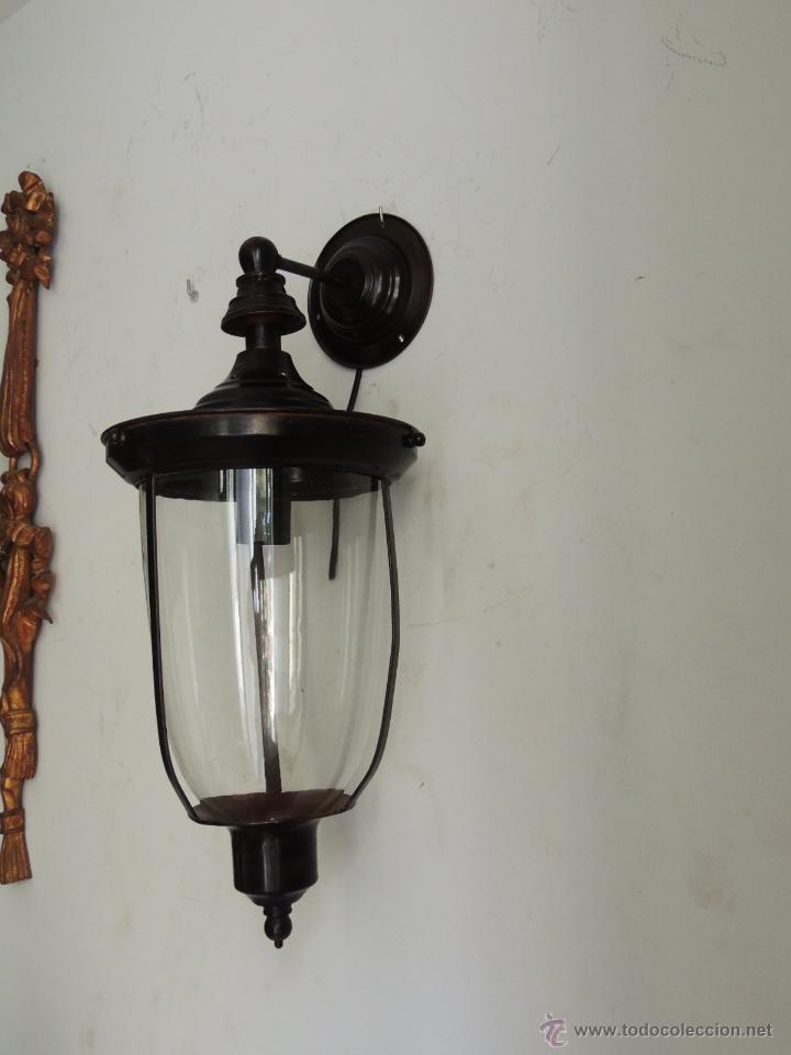 Antigüedades: FAROL O APLIQUE DE PARED CON CRISTAL - Foto 3 - 49190247