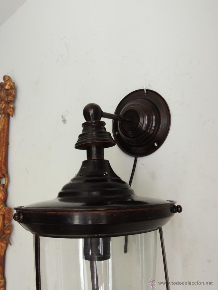 Antigüedades: FAROL O APLIQUE DE PARED CON CRISTAL - Foto 4 - 49190247