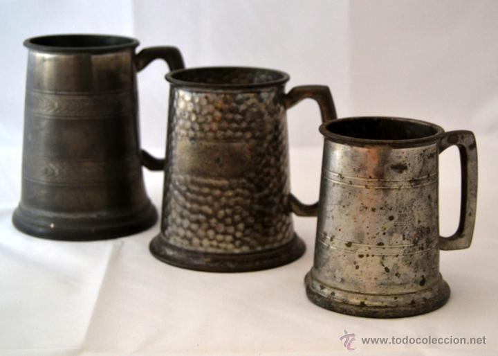 LOTE DE TRES JARRAS ANTIGUAS DE CERVEZA * PEWTER SHEFIELD GRAFRED * ESTAÑO (Antigüedades - Técnicas - Rústicas - Utensilios del Hogar)