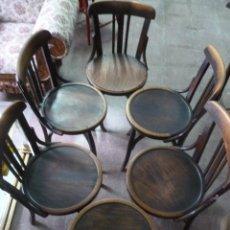 Antigüedades: CUATRO SILLAS ANTIGUAS DE MADERA. Lote 45725724