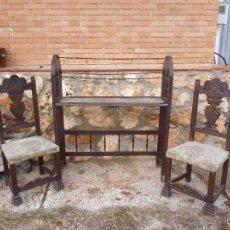 Antigüedades: CONJUNTO DE PERCHERO BURRO, Y DOS SILLAS. Lote 45741973