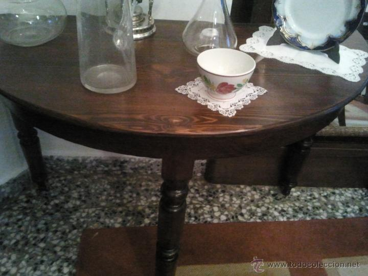 MESA CONSOLA PATAS TORNEADAS MADERA DE NOGAL (Antigüedades - Muebles Antiguos - Mesas Antiguas)