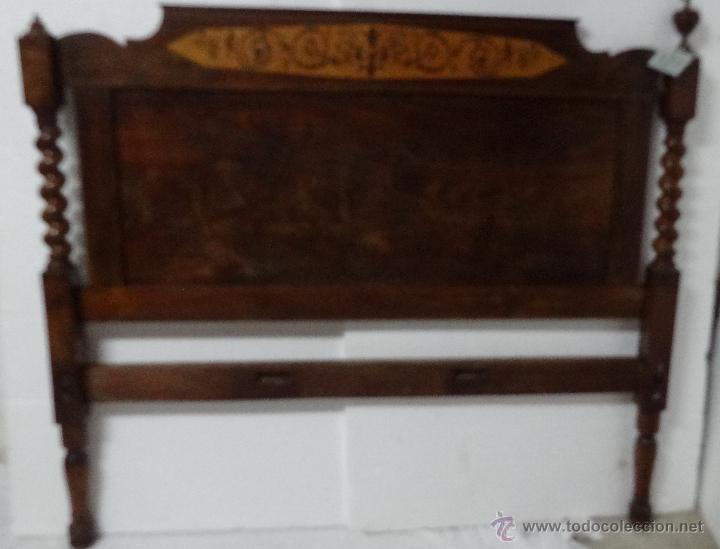CABECERO Y PIECERO MADERA DE CAOBA SIGLO XX- 329 (Antigüedades - Muebles Antiguos - Camas Antiguas)