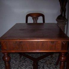 Antigüedades: MAGNIFICA MESA ALFONSINA EN NOGAL, EXTENSIBLE. Lote 57385060