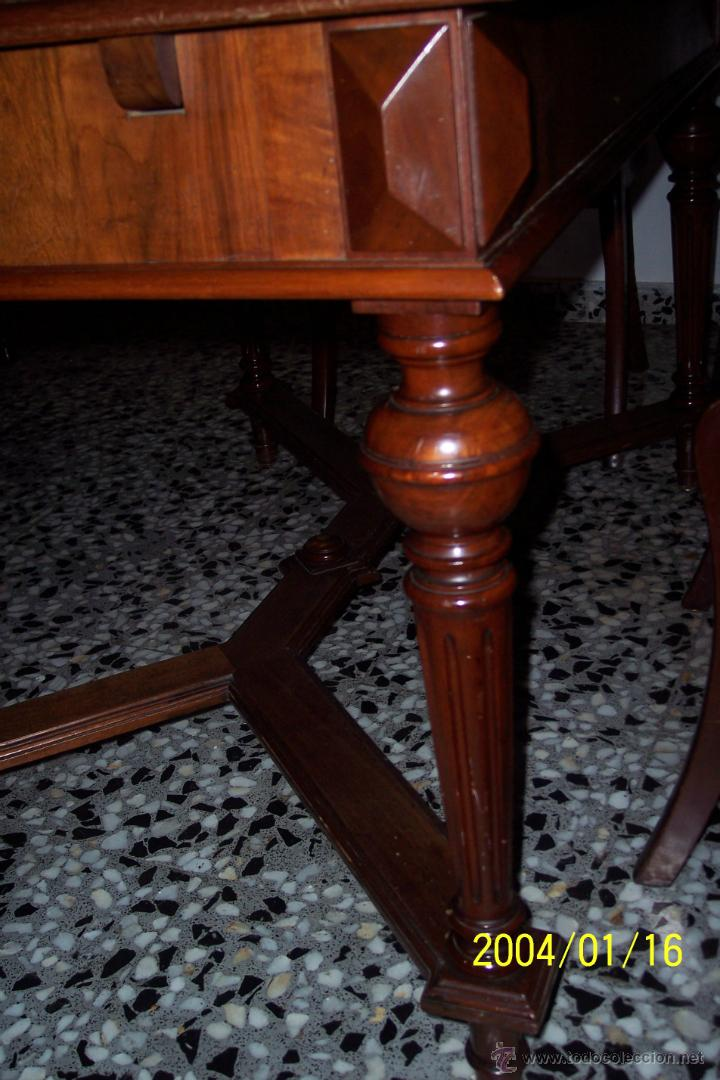 Antigüedades: MAGNIFICA MESA ALFONSINA EN NOGAL, EXTENSIBLE - Foto 2 - 57385060
