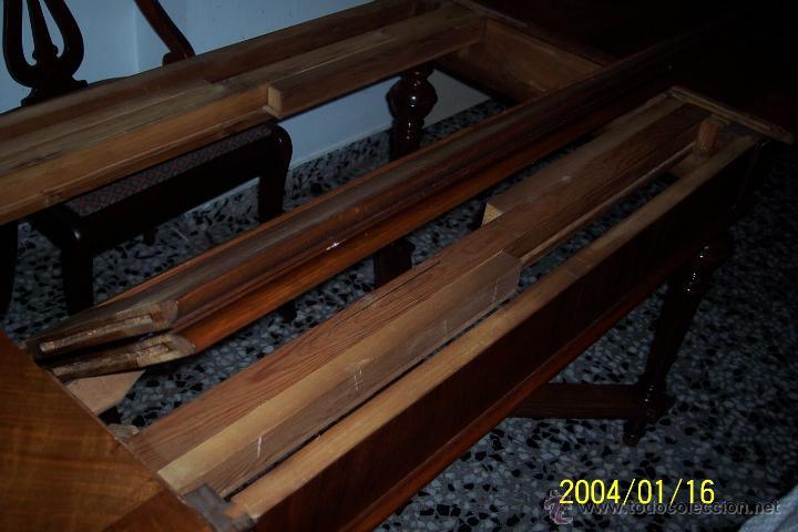 Antigüedades: MAGNIFICA MESA ALFONSINA EN NOGAL, EXTENSIBLE - Foto 6 - 57385060