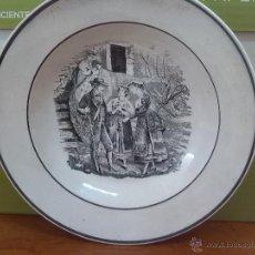 Antigüedades: ANTIGUO PLATO DE CARTAGENA, ESCENA BURGALES, SELLO TINTA E INCISO.. Lote 45764459