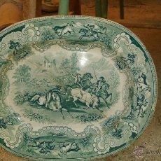 Antigüedades: ANTIGUA FUENTE DE CARTAGENA, CAZA DEL TORO, TONO VERDE, SELLO INCISO Y TINTA, LAÑADA. Lote 45765630