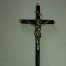 Antigüedades: ANTIGUO CRUCIFIJO MADERA Y METAL- 21 X 10 CM. Lote 45771877