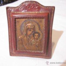 Antigüedades: ANTIGUO Y RARO ICONO MONTADO SOBRE MARCO DE SOBREMESA, EN CUERO.. Lote 45778904