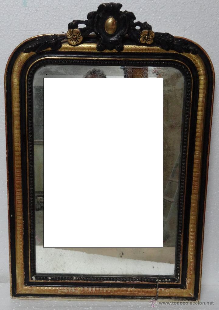 Espejo en madera dorado y negro siglo xx 603 comprar for Espejo ovalado dorado