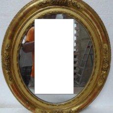 Antigüedades: ESPEJO MADERA DORADO Y ESTUCADO SIGLO XIX-- 606. Lote 45783956