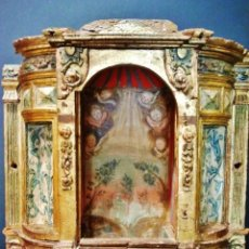 Antigüedades: MAGNÍFICO SAGRARIO DE PPS. DEL S. XVII. REALIZADO EN MADERA TALLADA, POLICROMADA, DORADA Y ESTOFADA.. Lote 45788317