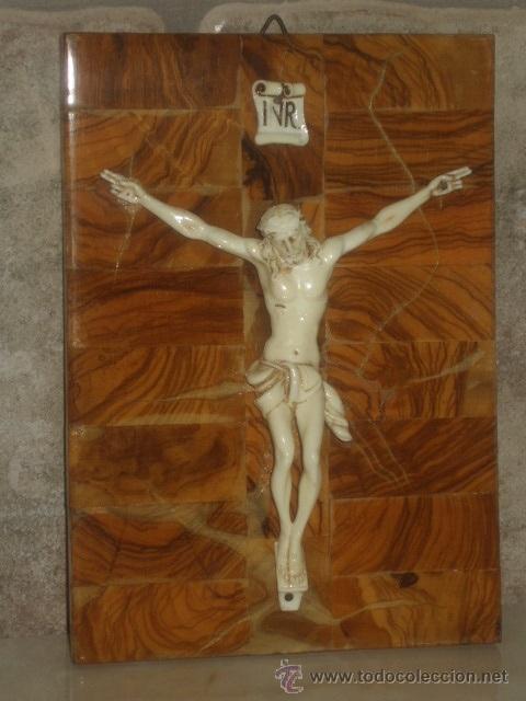ANTIGUO CUADRO CRISTO SOBRE MADERA DE RAIZ, JESUS . (Antigüedades - Religiosas - Cruces Antiguas)