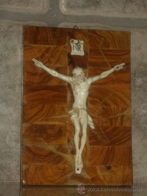 Antigüedades: ANTIGUO CUADRO CRISTO SOBRE MADERA DE RAIZ, JESUS . - Foto 4 - 45797852