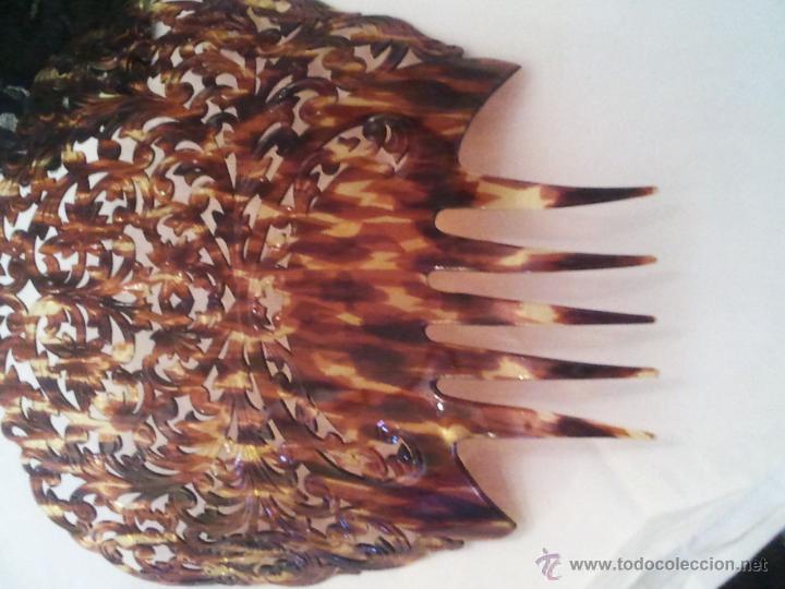 Antigüedades: Preciosa Peineta Antigua, S.XIX-XX, Excelente Estado, Gran Tamaño 22cm sin contar los dientes 30 e - Foto 2 - 45799577