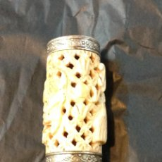 Antigüedades: CAJA Y JAULA PARA GRILLOS DE HUESO. Lote 45837054