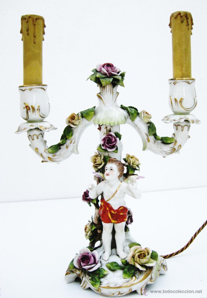 ALUCINANTE CANDELABRO LAMPARA ANTIGUO CIRCA 1870 CERAMICA PORCELANA VOLKSTEDT ALEMAN (Antigüedades - Porcelana y Cerámica - Alemana - Meissen)