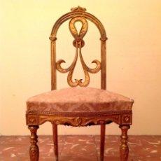Antigüedades: ANTIGUA SILLA PIEZA DE MUSEO COLECCIÓN ORIGINAL DE ÉPOCA EN MADERA TALLADA EN DORADO. Lote 45846104