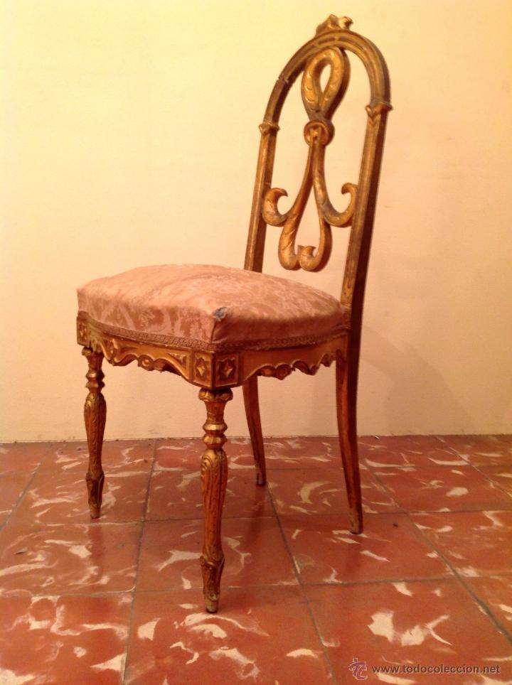 Antigüedades: Antigua Silla Pieza De Museo Colección Original De Época En Madera Tallada En Dorado - Foto 2 - 45846104