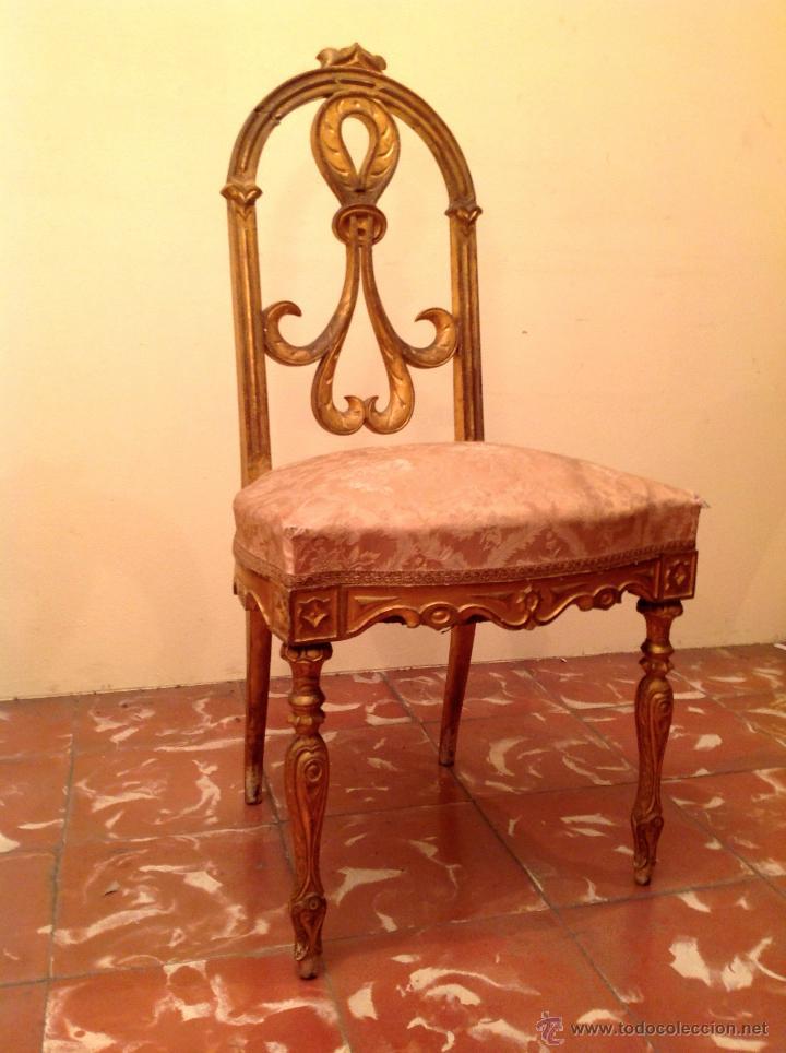 Antigüedades: Antigua Silla Pieza De Museo Colección Original De Época En Madera Tallada En Dorado - Foto 3 - 45846104