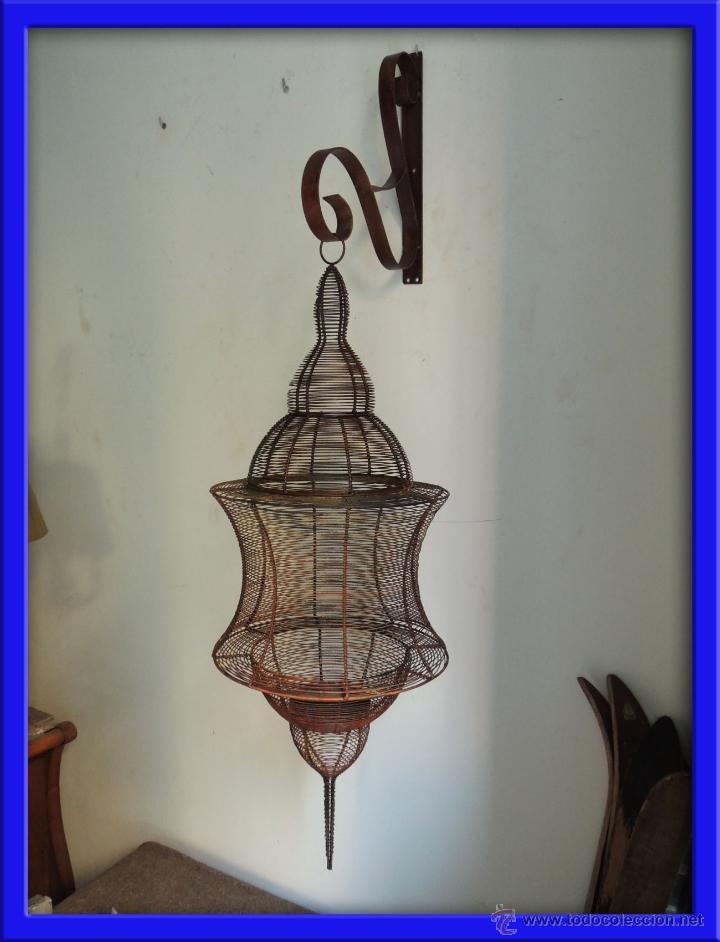 FAROL PARA VELA COLGANTE CON SOPORTE (Antigüedades - Iluminación - Faroles Antiguos)