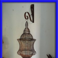 Antigüedades: FAROL PARA VELA COLGANTE CON SOPORTE. Lote 45725069