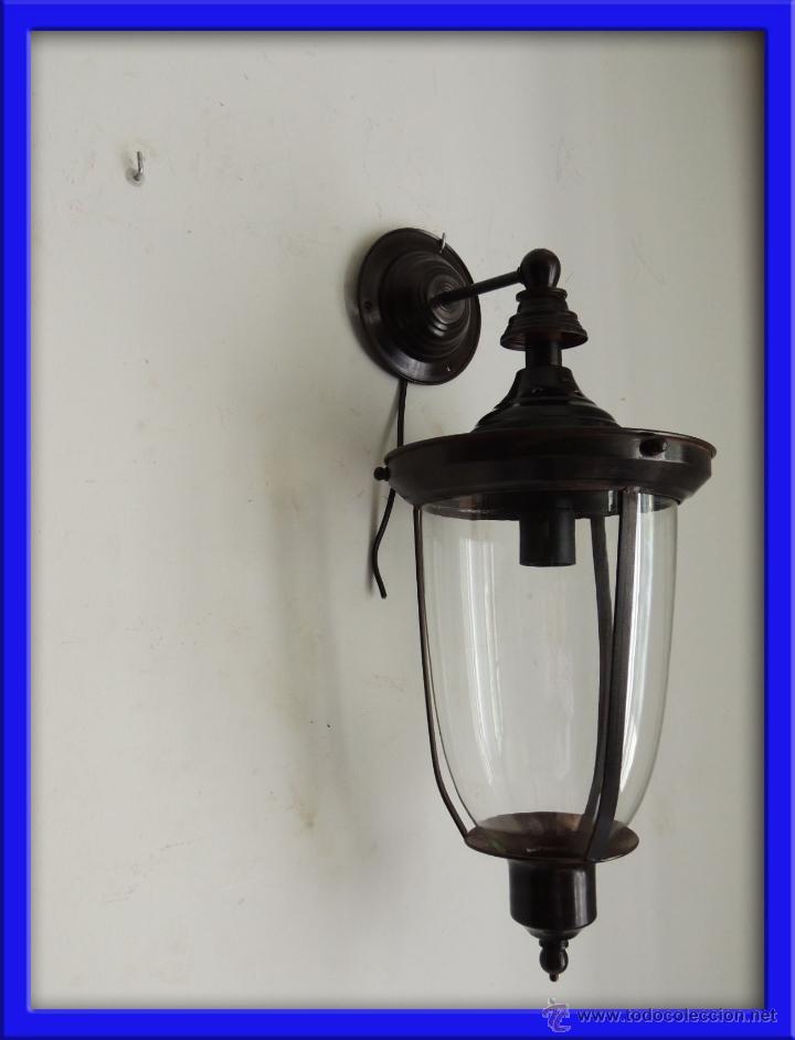 FAROL O APLIQUE DE PARED CON CRISTAL (Antigüedades - Iluminación - Faroles Antiguos)