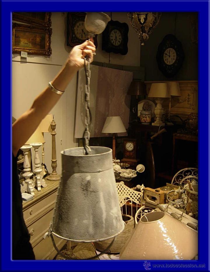 ORIGINAL FAROL O LAMPARA METALICA CON LUZ IMITANDO UN CUBO AL REVES (Antigüedades - Iluminación - Faroles Antiguos)