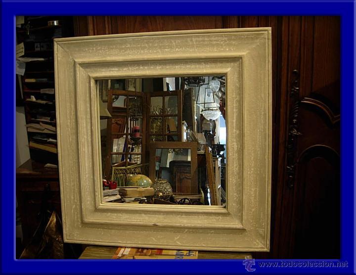 ESPEJO CUADRADO DE MADERA EN DECAPE EN COLOR GRIS (Antigüedades - Muebles Antiguos - Espejos Antiguos)