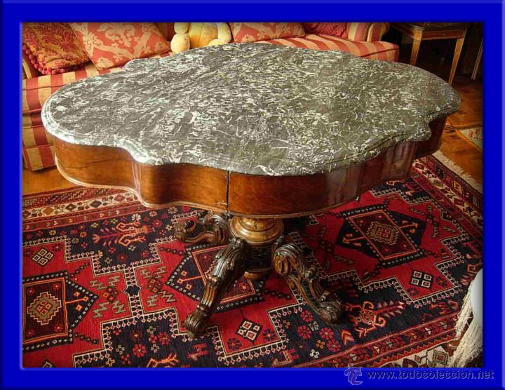 MESA VELADOR DE MADERA DE NOGAL CON MARMOL GRIS DE EPOCA ISABELINA (Antigüedades - Muebles Antiguos - Veladores Antiguos)