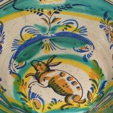 Antigüedades: LEBRILLO EN CERÁMICA ESMALTADA TRIANA. SIGLO XIX. LAÑADO. FIGURA DEL CONEJO.. Lote 45869685