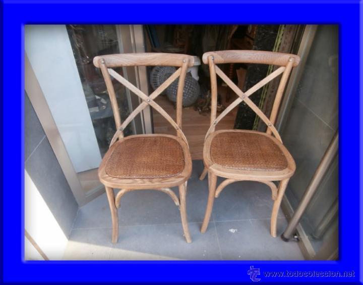 CONJUNTO DE DOS SILLAS DE MADERA Y RATAN (Antigüedades - Muebles Antiguos - Sillas Antiguas)