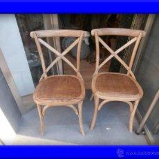 Antigüedades: CONJUNTO DE DOS SILLAS DE MADERA Y RATAN. Lote 43009536
