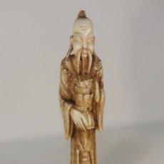 Antigüedades: FIGURA MONJE ORIENTAL. ALABASTRO. ARTE ORIENTAL. FIGURA ALABASTRO.. Lote 45876355