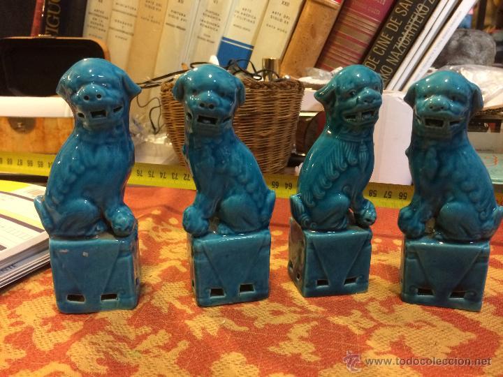 4 QUIMERAS CHINAS 13 CMS (Antigüedades - Porcelanas y Cerámicas - China)