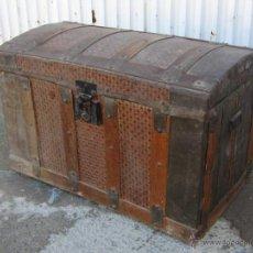 Antigüedades: COFRE ANTIGUO DE MADERA Y CHAPA. Lote 45915401