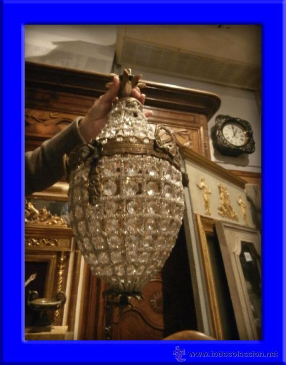 FAROL GLOBO LAMPARA DE BRONCE ENVEJECIDO CON CRISTALES (Antigüedades - Iluminación - Faroles Antiguos)