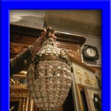 Antigüedades: FAROL GLOBO LAMPARA DE BRONCE ENVEJECIDO CON CRISTALES. Lote 57838177