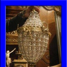 Antigüedades: FAROL GLOBO LAMPARA DE BRONCE DORADO CON CRISTALES. Lote 117262974