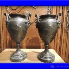 Antigüedades: FANTASTICAS COPAS DIRECTORIO DE CALAMINA SOBRE MARMOL CON MOTIVOS MUSICALES. Lote 29042728