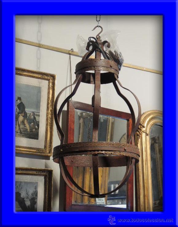 LAMPARA DE HIERRO EN TONO OXIDO MUY BONITA (Antigüedades - Iluminación - Lámparas Antiguas)