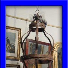Antigüedades: LAMPARA DE HIERRO EN TONO OXIDO MUY BONITA. Lote 109890002