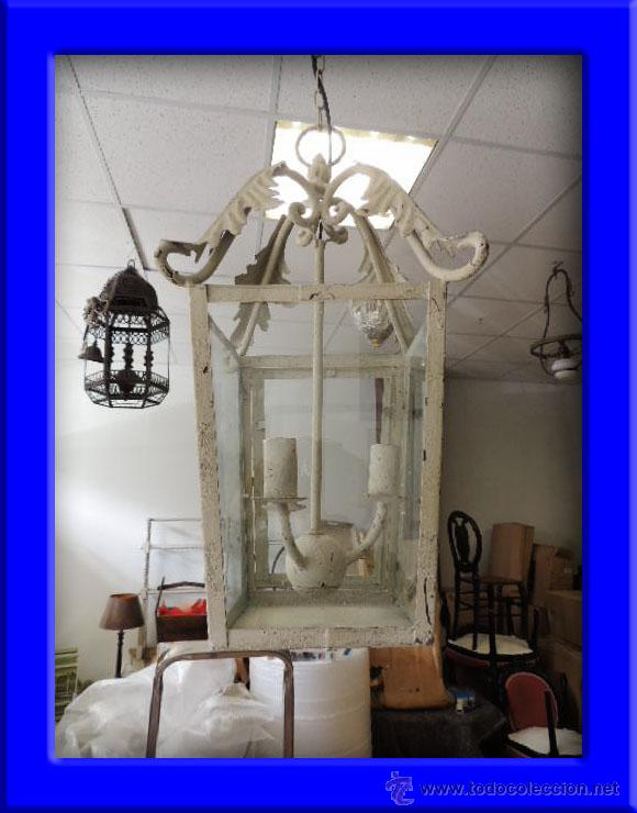 FAROL METALICO CON ADORNOS DE HOJAS (Antigüedades - Iluminación - Faroles Antiguos)