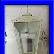 Antigüedades: FAROL LAMPARA METALICO EN DECAPE EN TONO BLANCO OXIDO. Lote 100127207