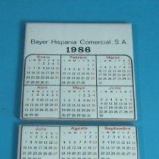 Antiguidades: DOS AZULEJOS CON EL CALENDARIO DEL AÑO 1986. FITOSANITARIOS BAYER. FORMATO 11 X 11 CM. Lote 45932592