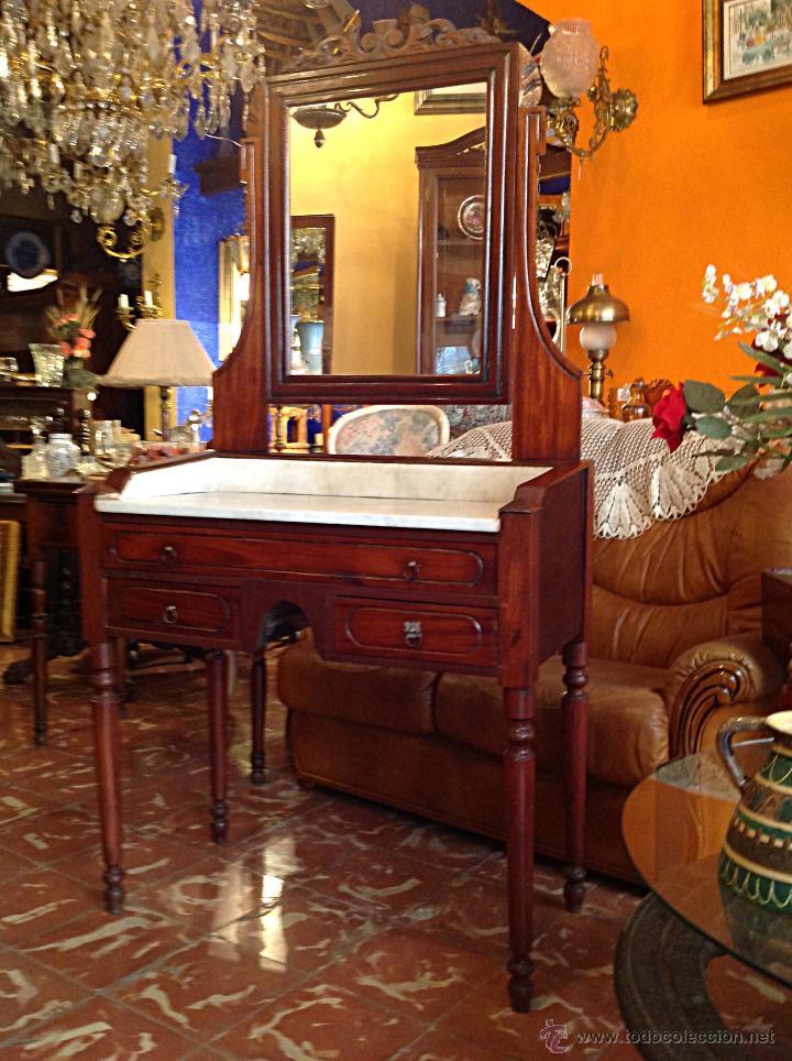 Antigüedades: Bonito y antiguo tocador con espejo / Medidas 175X86CM - Foto 2 - 45932674