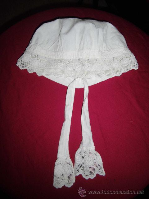 20b28de640307 ANTIGUO GORRO PARA DORMIR CON ACABADO EN PUNTILLA (Antigüedades - Moda y  Complementos - Mujer